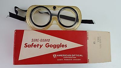 VINTAGE NOS American Optical AO Safety Goggles Glasses Glass Lens