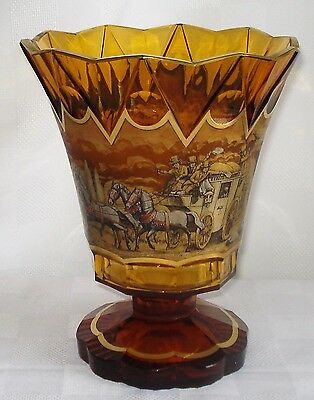Antique Bohemian Amber-Colored Crystal Vase