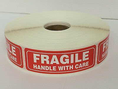 2 Rolls 1 x 3 FRAGILE HANDLE WITH CARE 2000 Stickers (1000 Per Roll)