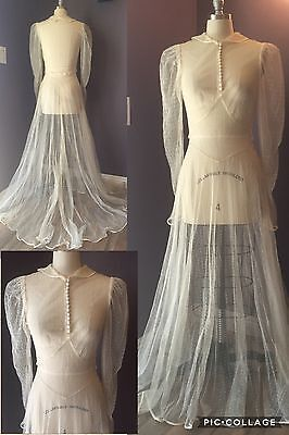 1930's True Vintage Antique Wedding Dress and Matching Slip Dress