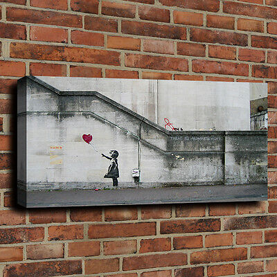 Banksy Art Print Painting on Canvas There is Always Hope Bright Home Decor 16x32