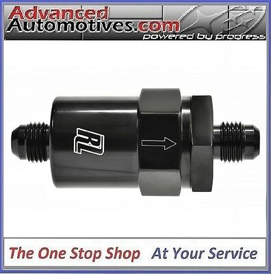 AN 6 (AN6) Polished Black Anodised Billet Fuel Filter 30 Micron Carb & Injection
