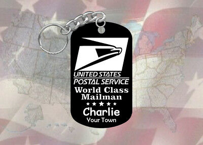 Mailman USPS Postal Service Gift - Dog Tag Keychain - Super Hard - Personalized