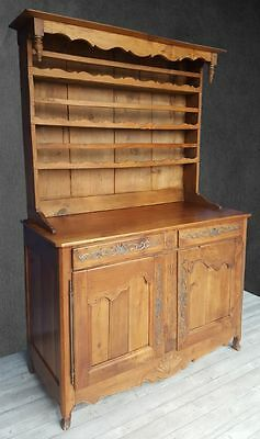 Farmhouse French Antique Walnut Dresser Cupboard Kitchen Rack Cupboard