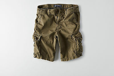 American Eagle Mens Destroyed Cargo Shorts - Green - Sizes 34-46 - NWT