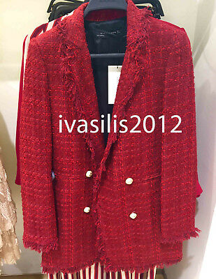 4cf338ba Zara New Woman Frayed Jacket With Embellished Buttons Burgundy Xs-Xl  8151/765