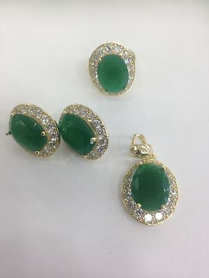 925 Silver Handmade Jewelry Fabulous Green Emerald Full Set