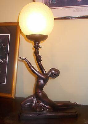 Art Deco Lamp Bronze Naked Nude Glass Globe Lady Women Figurine Vintage
