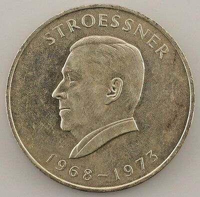 1968 Paraguay 300 Guaranies 4th Term President Stroessner (BU) Brilliant Unc