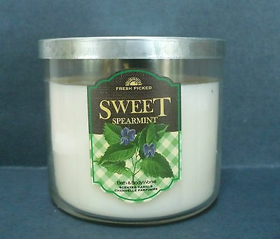 Sweet Spearmint Bath and Body Works Home 3 Wick Jar Candle 14.5 oz with Lid