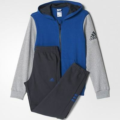 adidas boys blue / grey hooded zip up tracksuit. Jogging suit. Ages 4-14 years.
