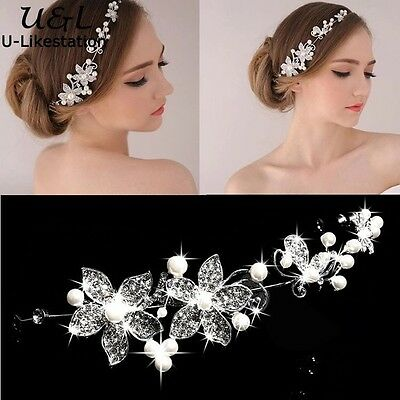 Bridal Hair Accessories Wedding Headpiece Pearl Crystal Flower Vine Tiara