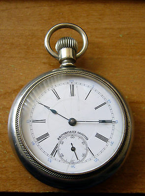 H W Co Specially Adjusted 18s 21j Silveroid Railway Pocket Watch