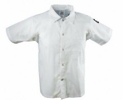 NWT Chef Revival White Short Sleeve Collared Cook Shirt Size M Medium CS006WH