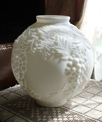 Gorgeous Antique Hanging Grape White Satin Glass Embossed 10 in Ball Shade GWTW