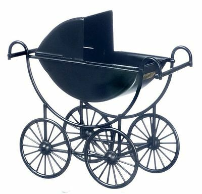 Dollhouse Miniature Vintage Look Black Metal Baby Carriage by Town Square