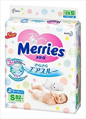 Kao Merries Air Through Tape Diapers Size S 4-8kg 82sheets From Japan
