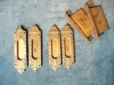 "Extremely Rare ""Veroccio"" Antique Pocket Door Hardware Set Complete"
