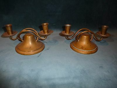 Pair of Vintage Arts and Crafts Candle Stick Holders in Copper - Saxton Inc. CA
