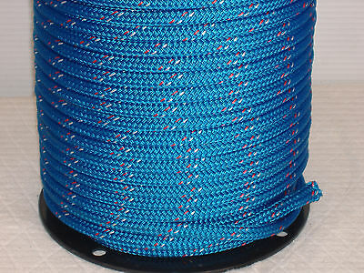 "Double Braid Polyester 1/2""x 300 ft yacht braid halyard blue w/red/white markers"