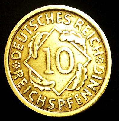 Germany-German-Weimar-Republic-German-10-Reichspfen Shinny Coin