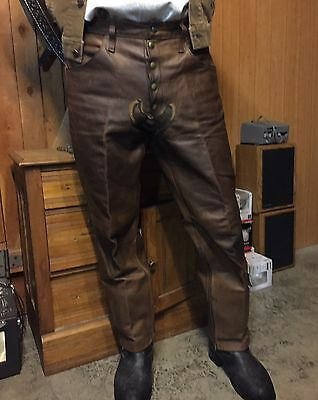 Vintage Harley Davidson Leather Pants Patches 1970s 34-36 Talon Zippers COOL
