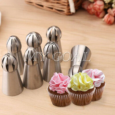 7PC Tulip Russian Flower Cake Decorating Icing Piping Nozzles Tips Baking Tool