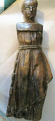 Original 1800's Carved Wood Santo Great Example Of Mexican Religious Carving