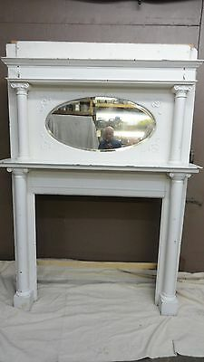 Vintage Fireplace Mantle Ornate With Bevelled Oval Mirror And Columns 1910