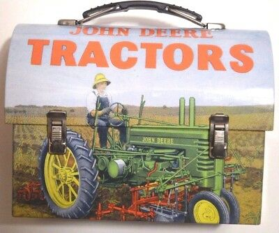 John Deere Tractors Metal Tin Lunch Box Utility Container Carry Case Moline Farm