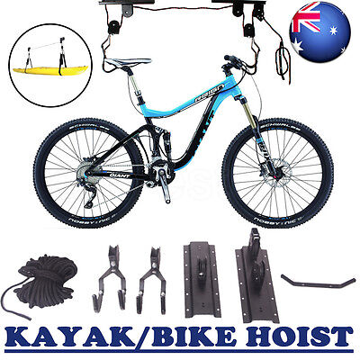 Kayak Hoist Bike Bicycle Lift Pulley System Garage Ceiling Storage Rack Shelf OZ