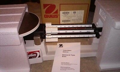 Ohaus 750-S0 Triple Beam Mechanical Balance 610g X 0.1g W/ Stainless Plate