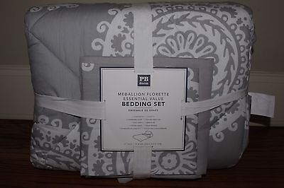 NWT Pottery Barn PB Teen Medallion Florette bed set twin quilt sham sheets gray