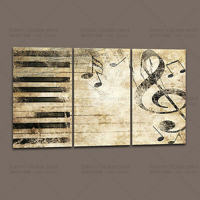 3 Panels Large Canvas Prints Piano Keys Music Note Home Decor Wall Art Painting