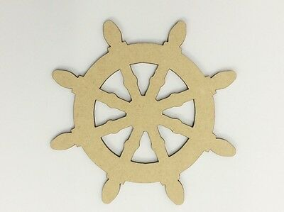 Five (5) x 10cm MDF Wood Boat Wheel Craft 3mm MDF Ready To Prime and Paint