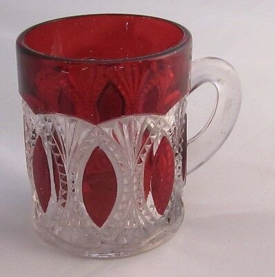 EAPG  Oregon ( Beaded Loop; Beaded Ovals) U.S. Glass 3in. Mug Rare Ruby- Stained