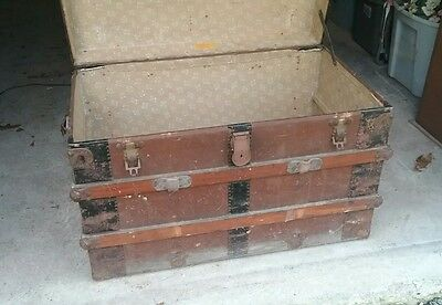 Vintage wood steam trunk/railroad