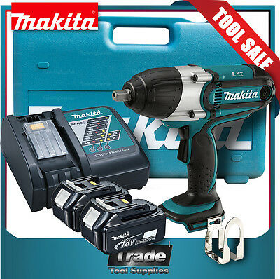 Makita DTW450 Impact Wrench Kit + 2x 5.0Ah Batteries Charger Case