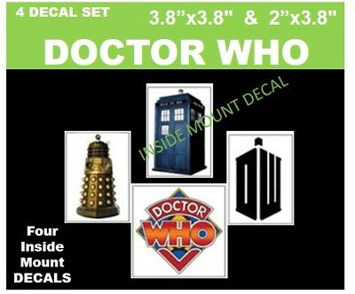 DOCTOR WHO   ** 4 DECAL SET inside mount **
