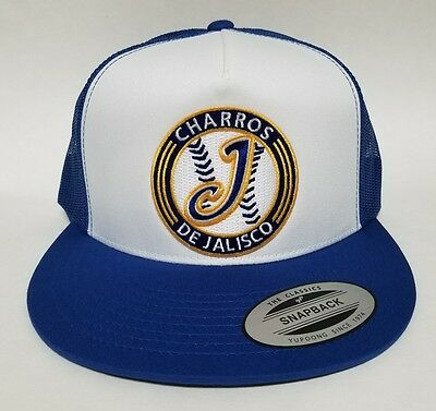 CHARROS DE Jalisco Hat Mesh Trucker White Royal Snap Back Flat Build ... b43b63fd474e