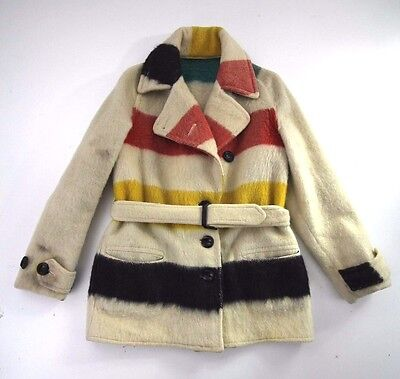 Hudson Bay Vintage Wool Blanket Jacket With Buttons and Tie DAMAGED SEE PHOTOS