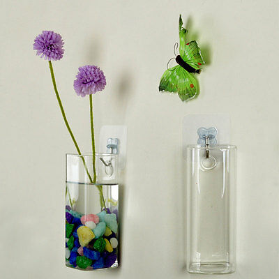 Wall Glass Hydroponic Water Plants Flower Clear Indoor Hanging Vase Home Decor