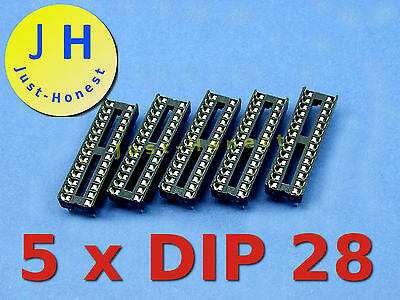 Stk. 5 x DIP 28 IC SOCKEL / SOCKET #A242