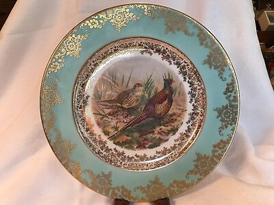 "VNTG J.K.W. Hand Painted Pheasant Gold Trim BAVARIA PORCELAIN 10"" GERMANY PLATE"