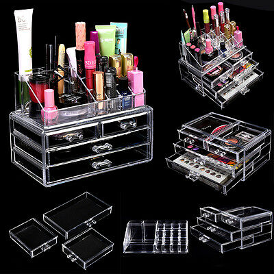 2 ebenen acryl kosmetik organizer makeup aufbewahrung schubladen sortierkasten eur 17 91. Black Bedroom Furniture Sets. Home Design Ideas