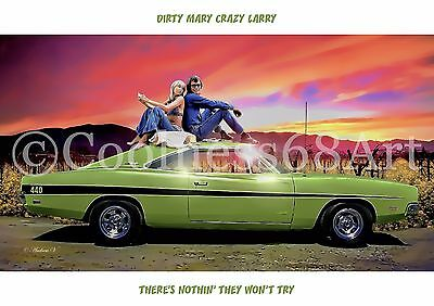 A4 size Dirty Mary Crazy Larry Original Art Print