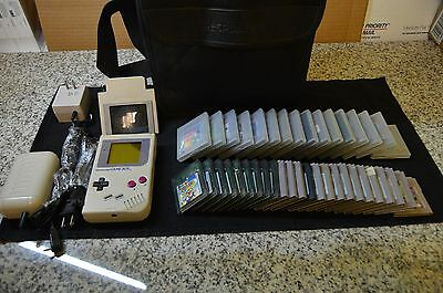 Huge Gameboy Lot 1 Original/Classic Gameboy With 40 Games, 2 Chargers, Magnifier