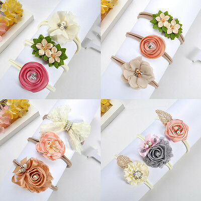 Beauty 3Pcs Baby Girls Infant Toddler Flower Bow Headband Hair Band Accessories