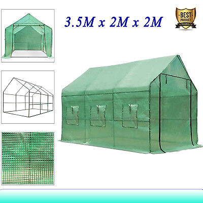New Greenhouse Walk-In Green Hot Plant House Shed Storage PE Cover 3.5M x 2M AU