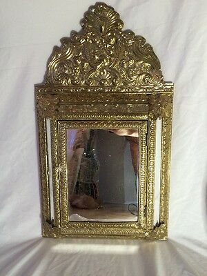 Antique Victorian French High Brass Mirror Cabinet With Brass Brushes